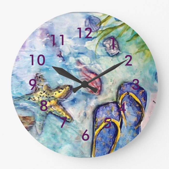 Flip Flop Beach Theme Watercolor Large Clock Zazzle