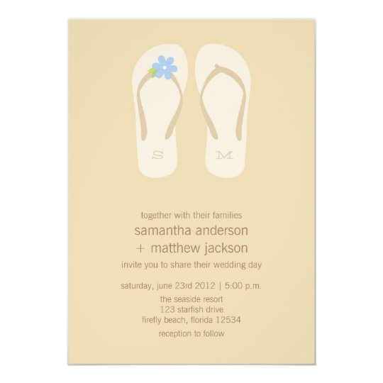5c90177ecb77bd Flip Flop Beach Wedding Invitations -Blue Flower