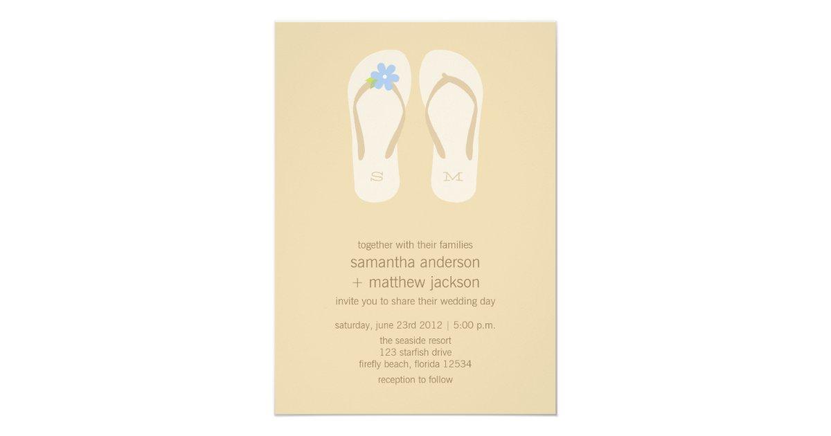 Flip Flop Beach Wedding Invitations Blue Flower Zazzle