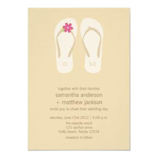 Flip Flop Beach Wedding Invitations -Pink Flower
