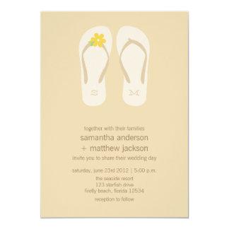 Flip Flop Beach Wedding Invitations -Yellow Flower