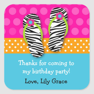 Flip Flop Birthday Party Favor Stickers Label girl