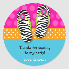 Flip Flop Birthday Party Favor Stickers Labels Kid