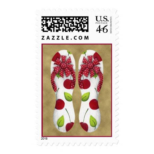Flip Flop Cherries Postage Stamp