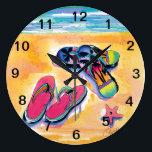 "Flip-Flop -clock Large Clock<br><div class=""desc"">A watercolor illustration of beach foot wear decorates this light-hearted clock.</div>"