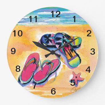 Beach Themed Flip-Flop -clock Large Clock