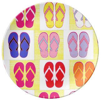 Flip Flop Collage Porcelain Plate