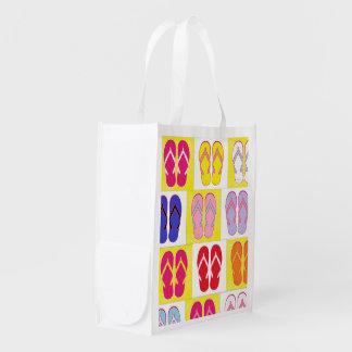 Flip Flop Collage Reusable Grocery Bag