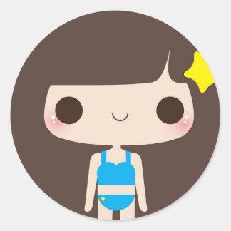 Flip Flop Girl Classic Round Sticker