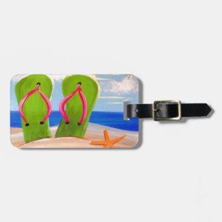 Flip Flop in the Sand Design Bag Tag