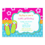 "Flip Flop Luau Pool Party Birthday Invitaitons 5"" X 7"" Invitation Card"