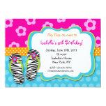 "Flip Flop Luau Pool Party Birthday Invitations 5"" X 7"" Invitation Card"