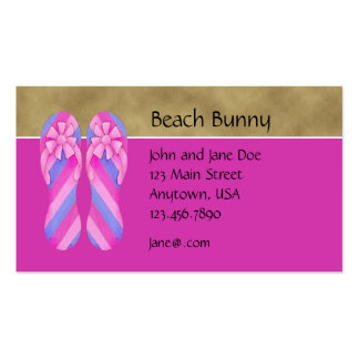 Flip Flop Pink Stripes Profile Card Double-Sided Standard Business Cards (Pack Of 100)