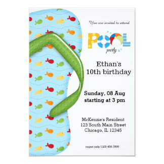 Flip Flop Pool Party 5x7 Paper Invitation Card