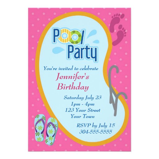 Flip Flop Pool Party Birthday Personalized Announcement