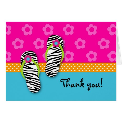 Flip Flop Pool Party Folded Thank you note cards