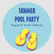 Flip Flop Pool Party Sticker at Zazzle