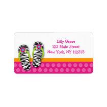 Flip Flop Pool Party Zebra Return Address Labels