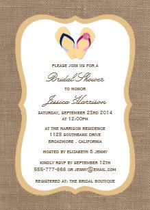 3f5b5a2a5b17c1 Flip-Flop Sand Beach Burlap Bridal Shower Invites