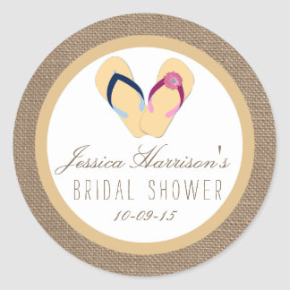 Flip-Flop Sand Beach Burlap Bridal Shower Stickers