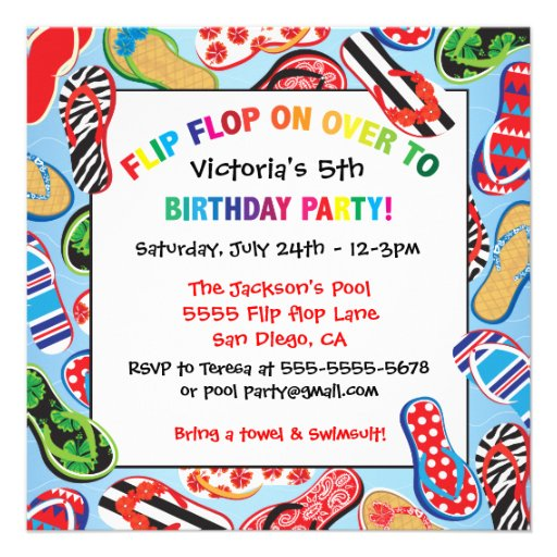 Flip Flop Sandal Birthday Party Invitations