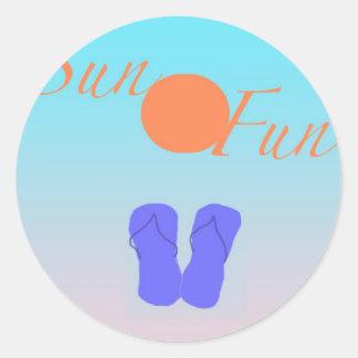 Flip Flop Sun Fun Classic Round Sticker