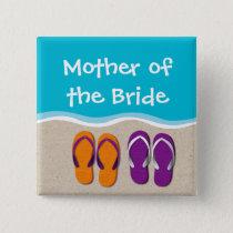 Flip Flop Wedding on the Beach Bridal Party Pinback Button