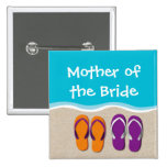 Flip Flop Wedding on the Beach Bridal Party Pinback Button