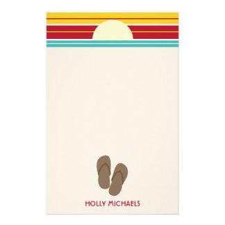Flip Flops & 70s Inspired Beach Sunset Stationery