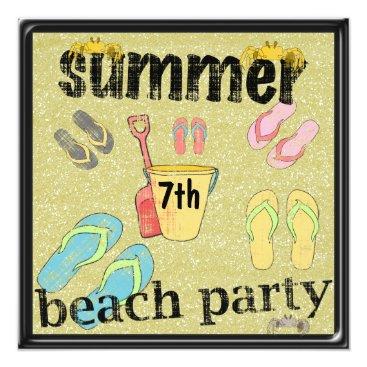Beach Themed Flip Flops 7th Birthday Summer Beach Party Card