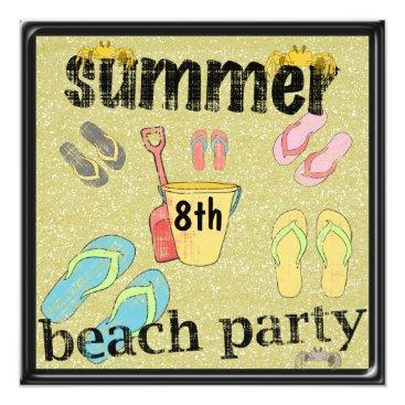 Beach Themed Flip Flops 8th Birthday Summer Beach Party Card