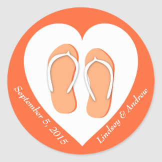 Flip Flops and Heart Orange Classic Round Sticker