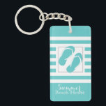 "Flip Flops Aqua Stripe Beach House Keychain<br><div class=""desc"">Bold aqua and white stripes with flip flops design,  beach house or condo key chain with a place on back to add all of your important key return information if the keys are lost.</div>"