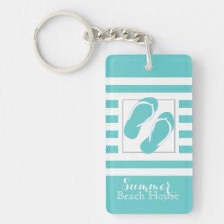 Flip Flops Aqua Stripe Beach House Keychain