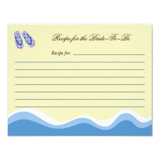 Flip Flops Beach Bridal Recipe Card