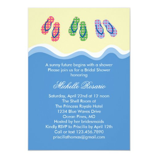 Flip Flops Beach Bridal Shower Invitation