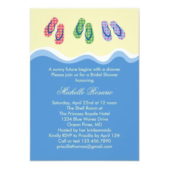 f3b3c99473c870 Flip Flops Beach Bridal Shower Invitation
