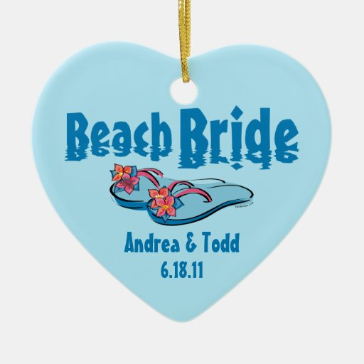 Flip Flops Beach Bride Personalized Ornament