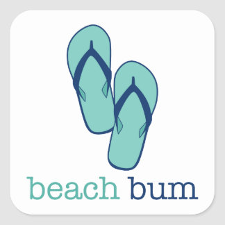Flip Flops Beach Bum Square Sticker