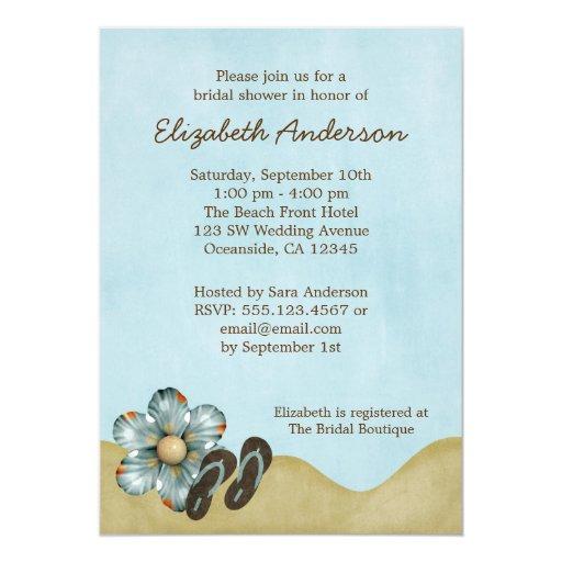 Flip Flops Beach Flower Bridal Shower Invitations Zazzle