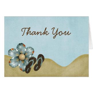 Flip Flops Beach Flower Thank You Greeting Cards
