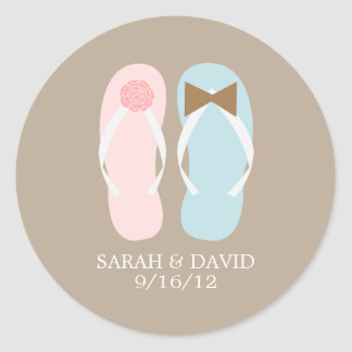Flip Flops Beach Wedding Classic Round Sticker