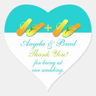 Flip Flops Beach Wedding Favour Stickers Thank You