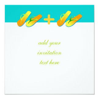 Flip Flops Beach Wedding Invitations Blue Yellow