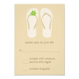 Flip Flops Beach Wedding RSVP Cards - Green Custom Announcement