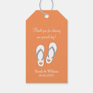 Flip flops beach wedding thank you favor gift tags pack of gift tags