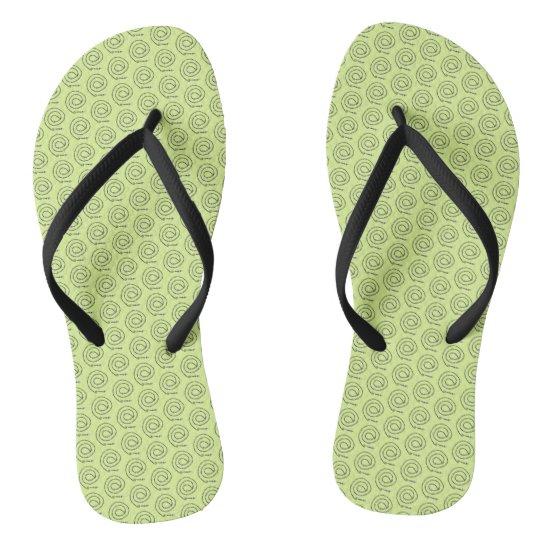 Flip-Flops - Beaded Black Spirals Flip Flops