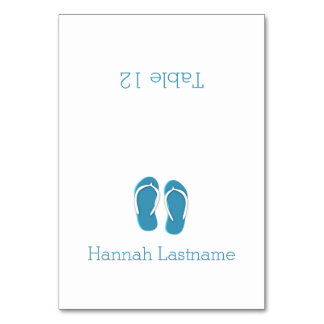 Flip Flops Blue Seating Card Table Cards