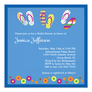 "Flip Flops Bridal Shower Invitation 5.25"" Square Invitation Card"