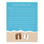 Flip Flops Bridal Shower Recipe Card